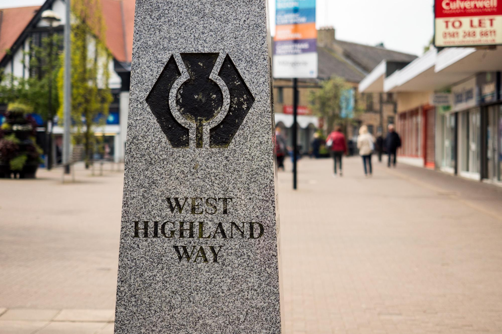 West Highland Way - Startpunkt des West Highland Way in Milngavie