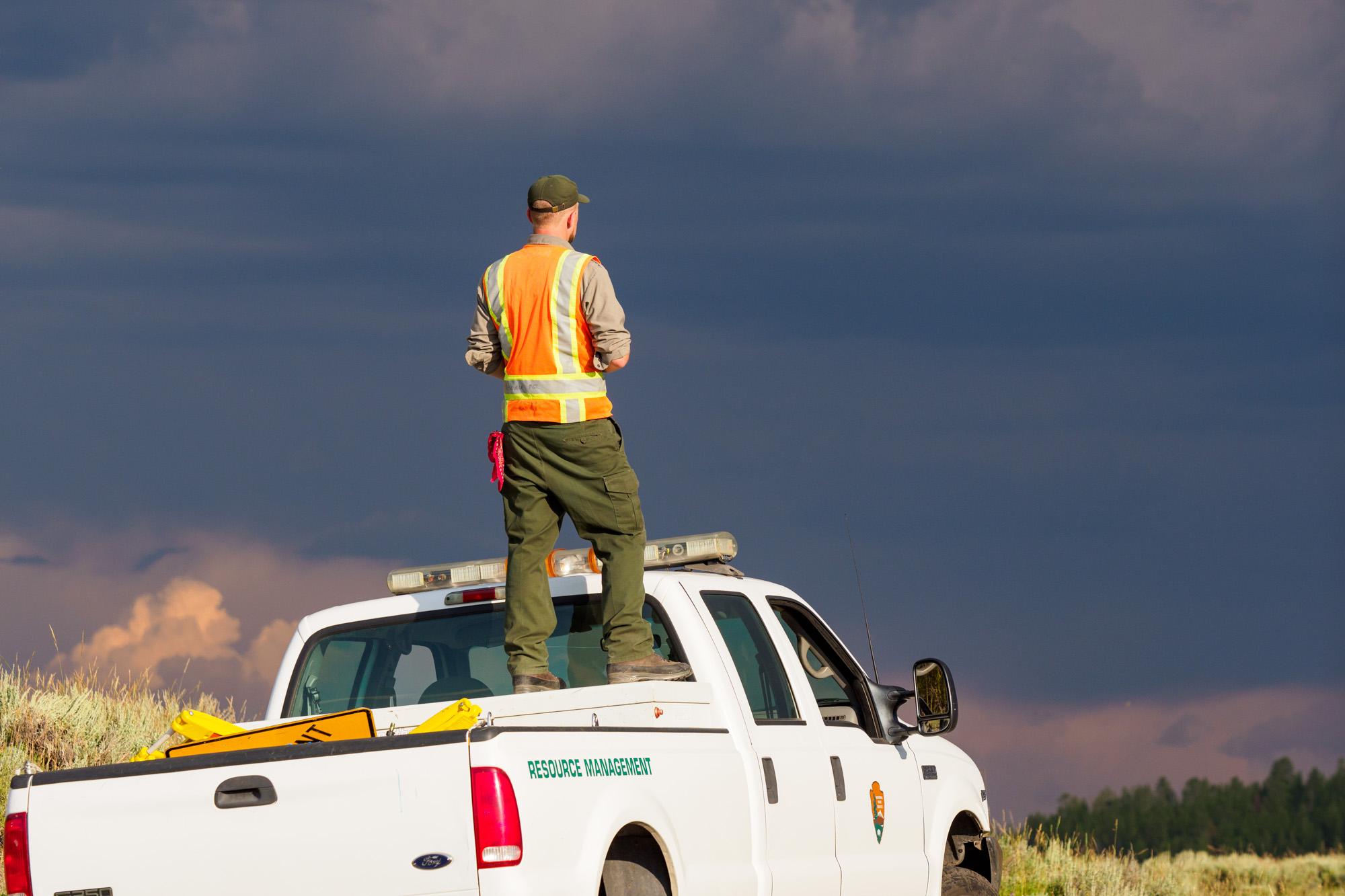 Yellowstone Nationalpark - Ranger sorgt für Ordnung im Hayden Valley