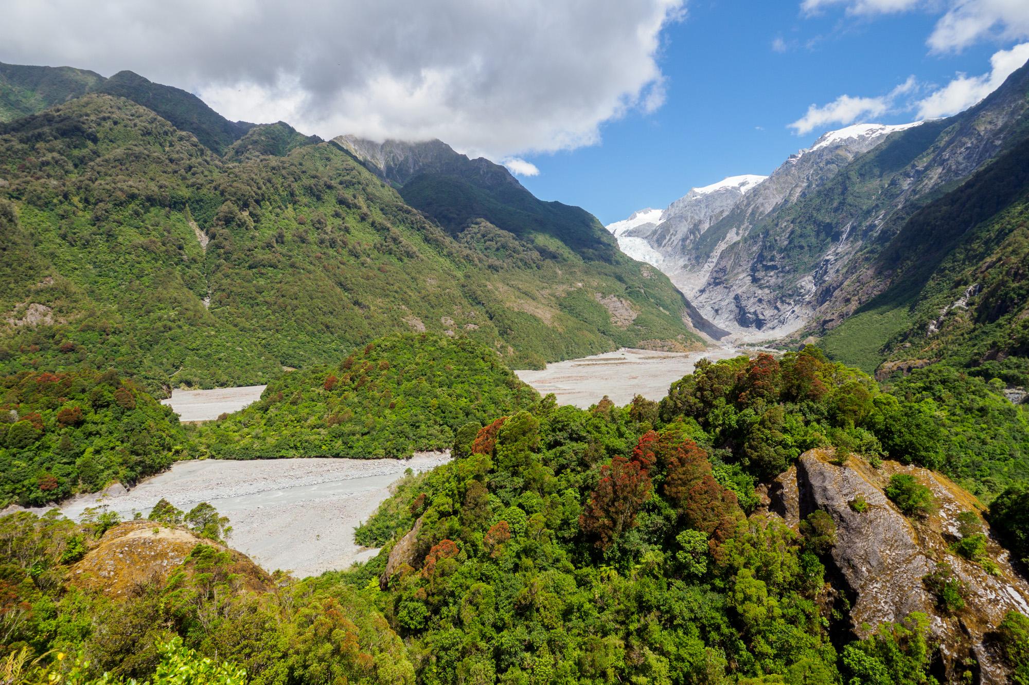 Westküste - Aussicht vom Sentinel Rock auf den Franz Joseph Glacier