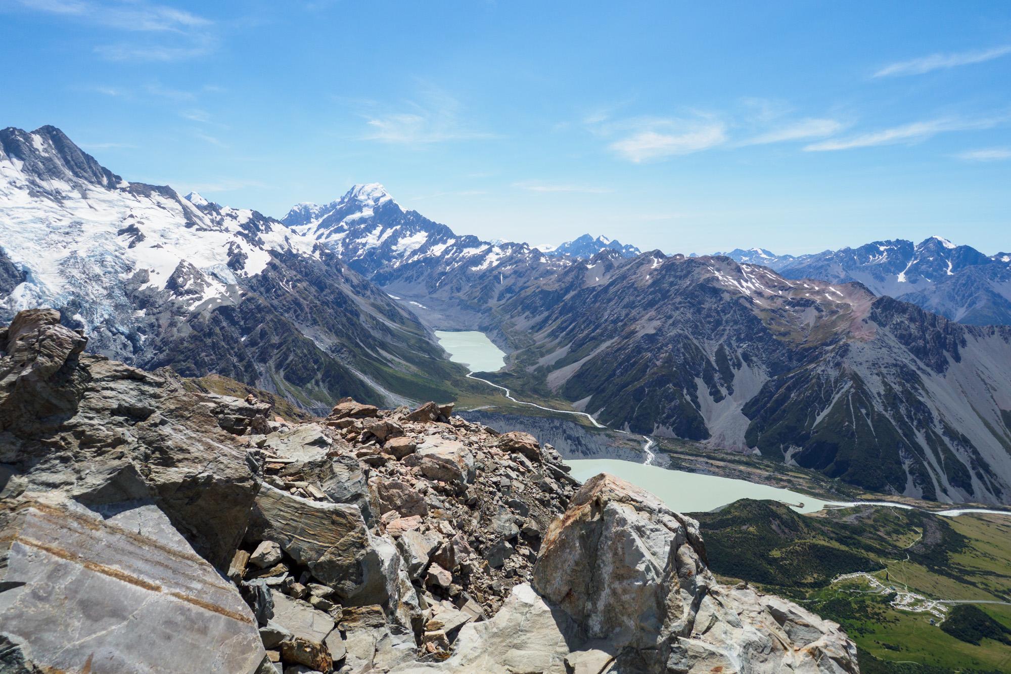 Aoraki Mt Cook Nationalpark - Aussicht bis zum Aoraki Mt Cook