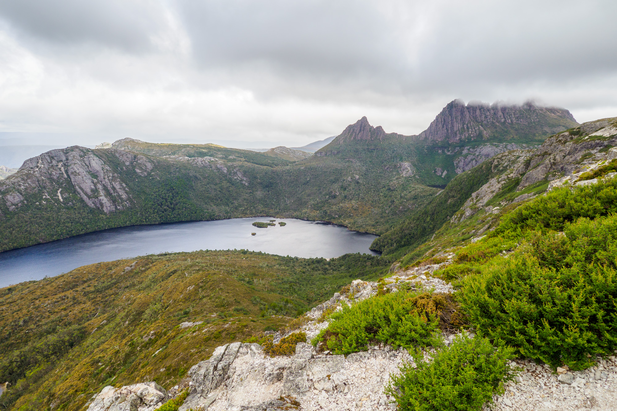 Cradle Mountain Nationalpark- Marions Lookout mit Dove Lake und Cradle Mountain