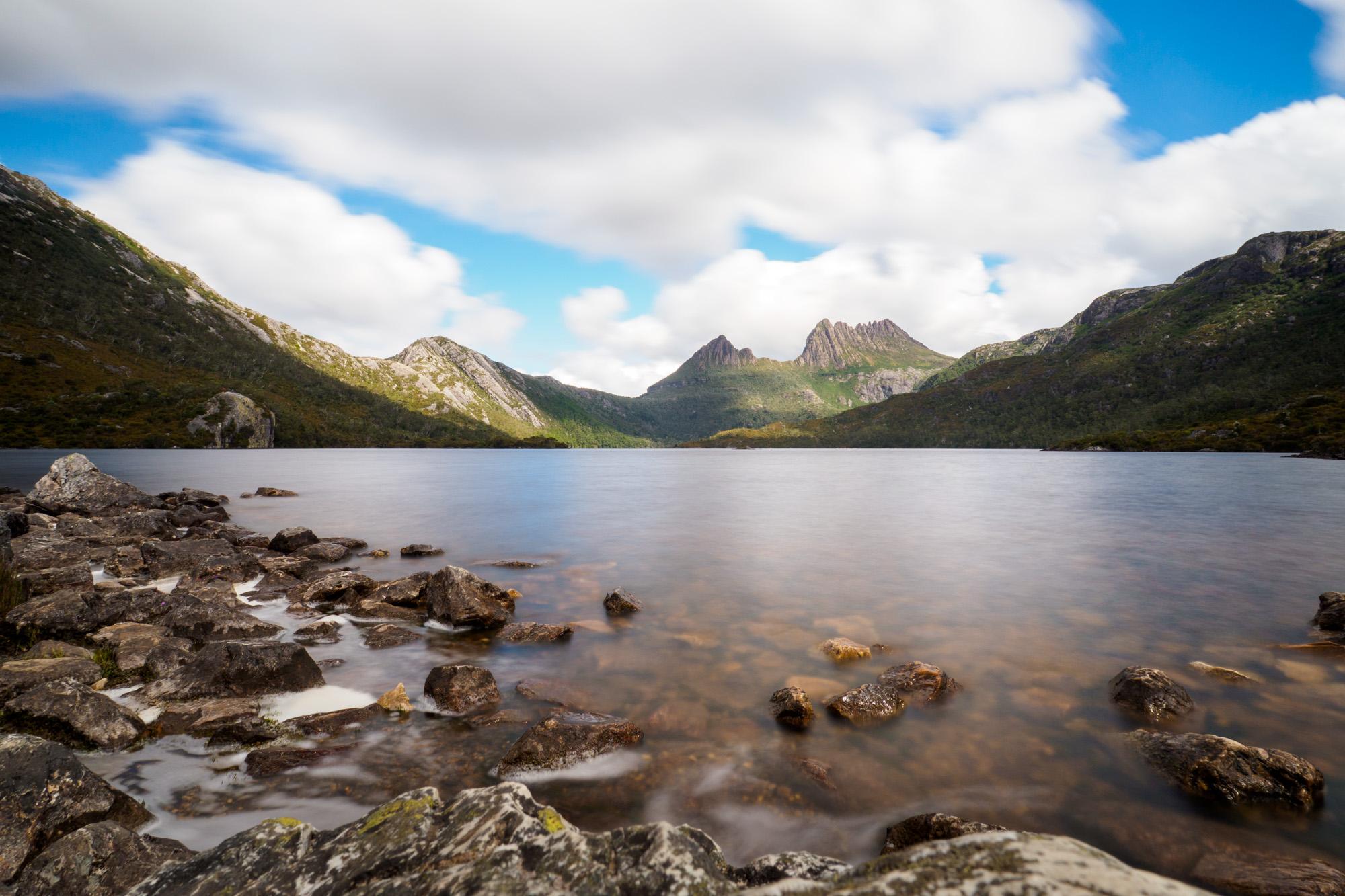 Cradle Mountain Nationalpark- Aussicht vom Dove Lake auf den Cradle Mountain